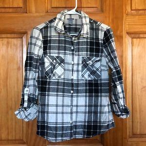 Cream & Black Plaid Shirt